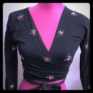 Vintage Moschino Black Floral Wrap Top
